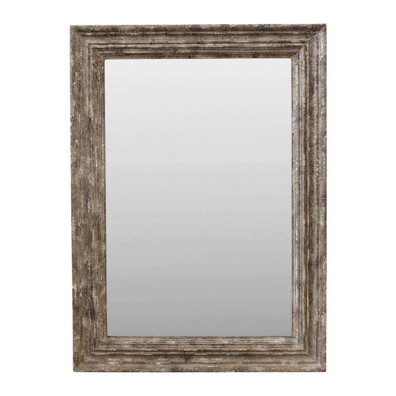 Espejo de madera beige plateado 95x130cm espejos en becara for Espejo de pie plateado
