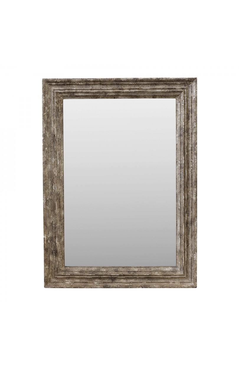 Espejo de madera beige plateado 95x130cm espejos y for Espejo vintage plateado