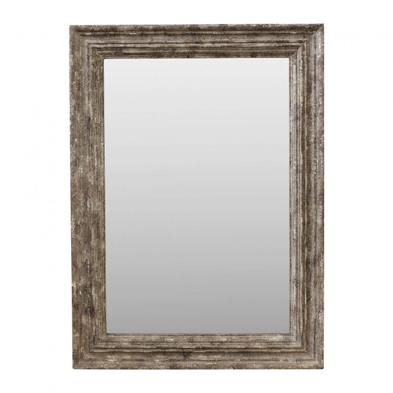 95x130cm beige-silver wooden mirror
