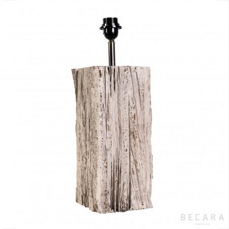 Small rectangular wooden block table lamp