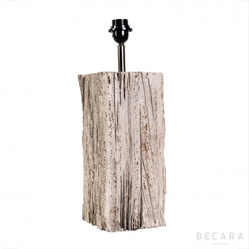 Small rectangular wooden block table lamp