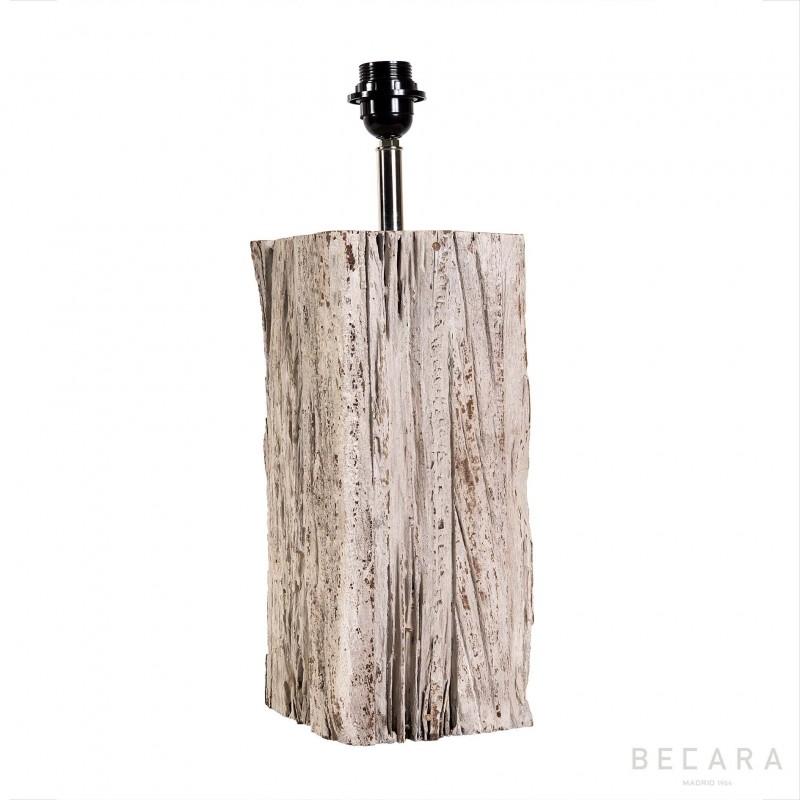 Lámpara de mesa con taco de madera rectangular pequeña - BECARA