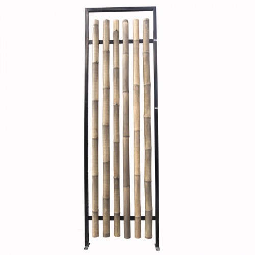 Iron and bamboo screen room divider