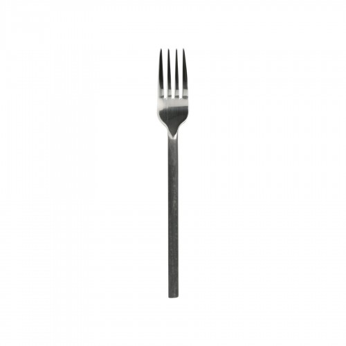 Black steel handle dessert fork