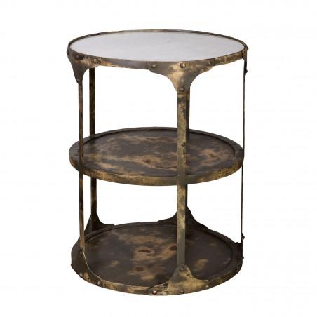 Mesa auxiliar con baldas y tapa de mármol