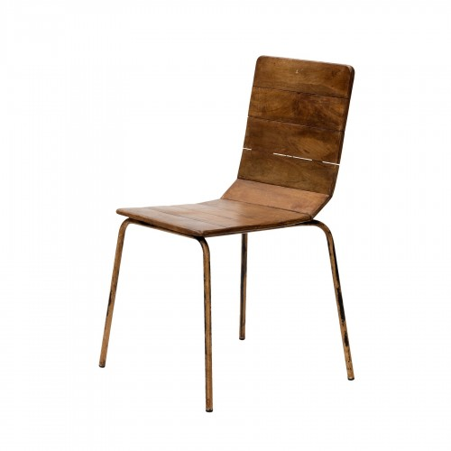 Iron chair with wooden boards