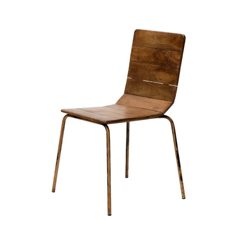 Silla de hierro con tablones de madera - BECARA