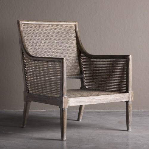 Grey elm wooden armchair