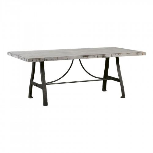 Mesa de comedor de hierro con tablero envejecido