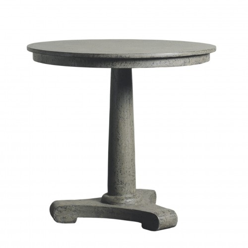 Round grey caviar finish side table