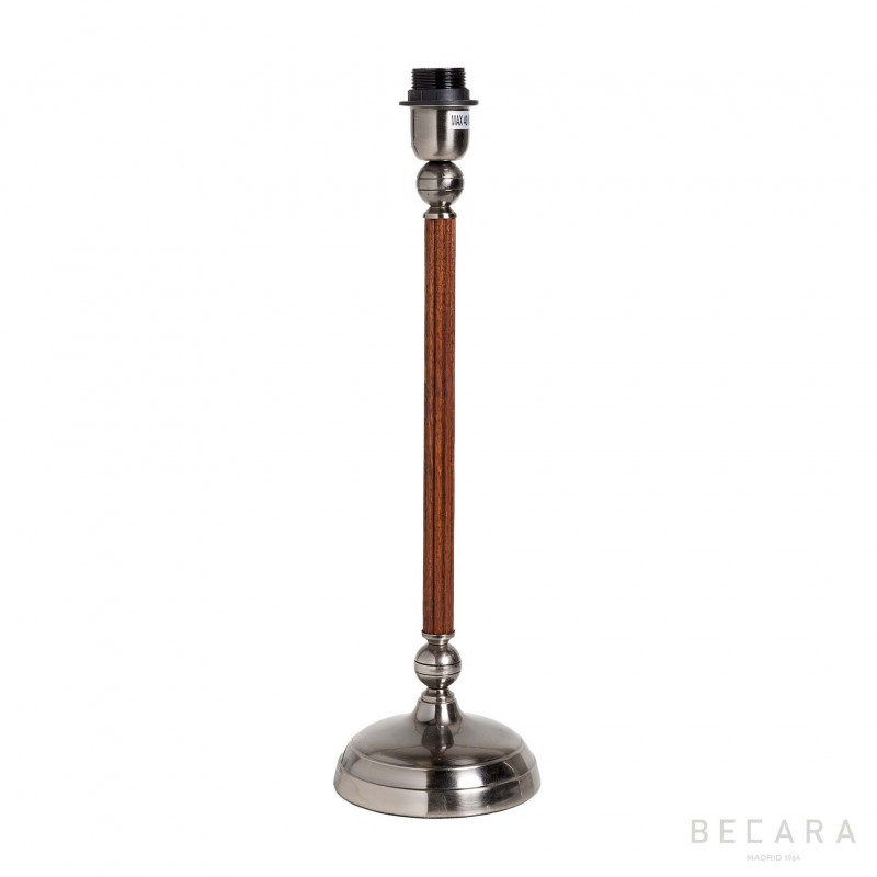 Grooved wooden and metal table lamp