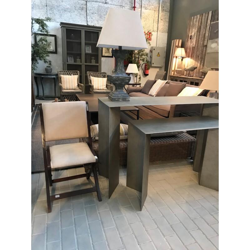 Lámpara de mesa de madera azul desgastado - BECARA