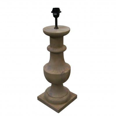 Lámpara de mesa de madera con base cuadrada