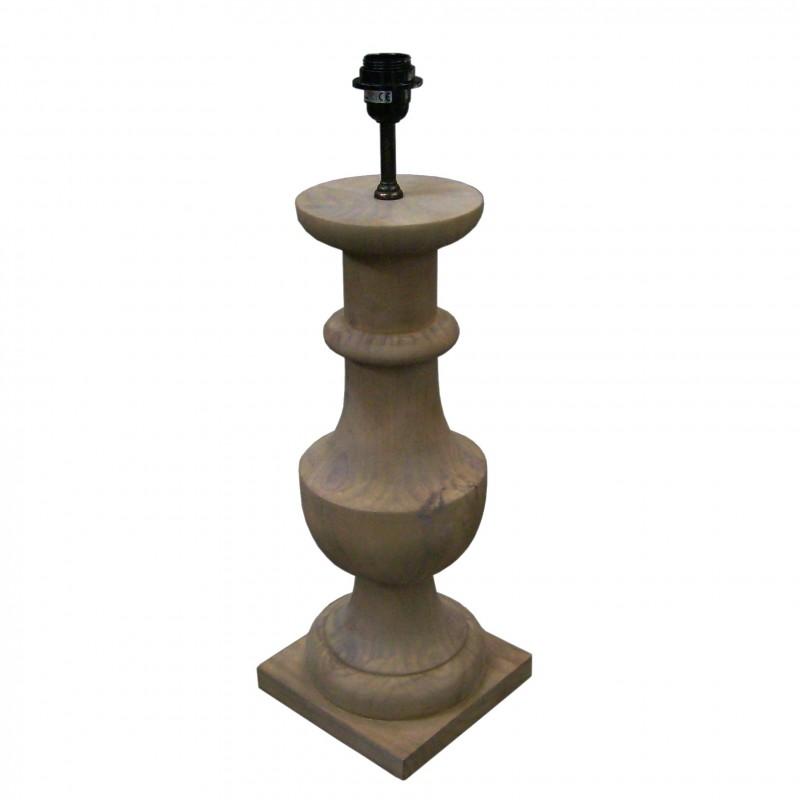Lámpara de mesa de madera con base cuadrada - BECARA