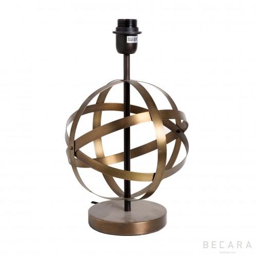 Lámpara de mesa con esfera de tiras doradas