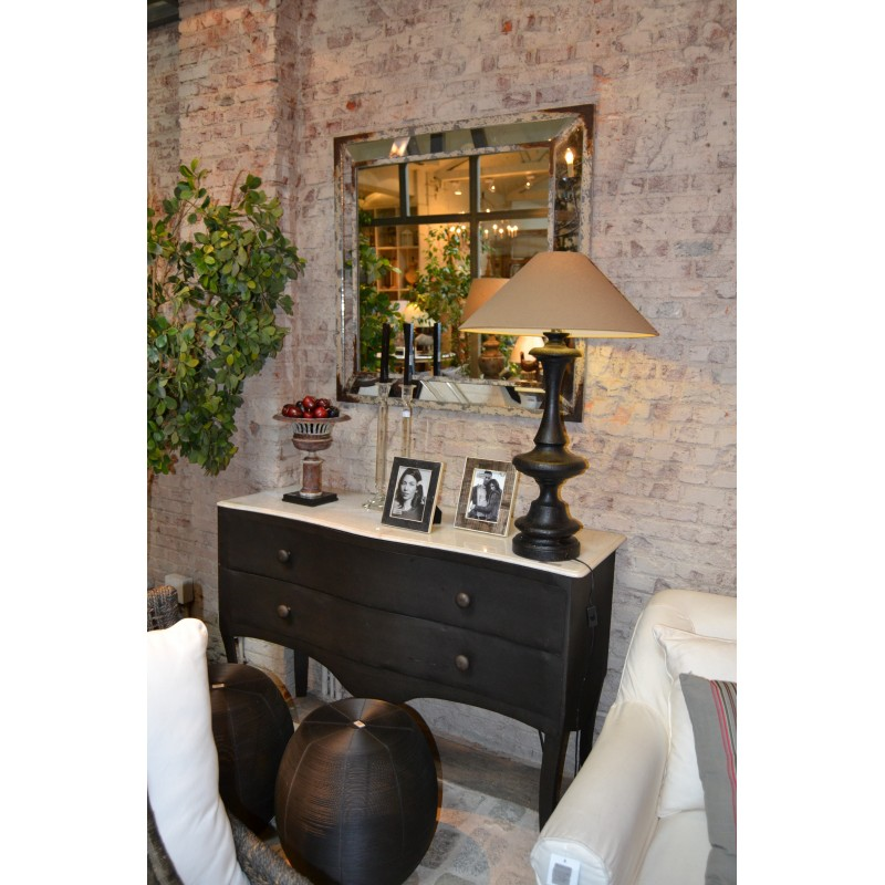 Iron sideboard with marble top and skirt