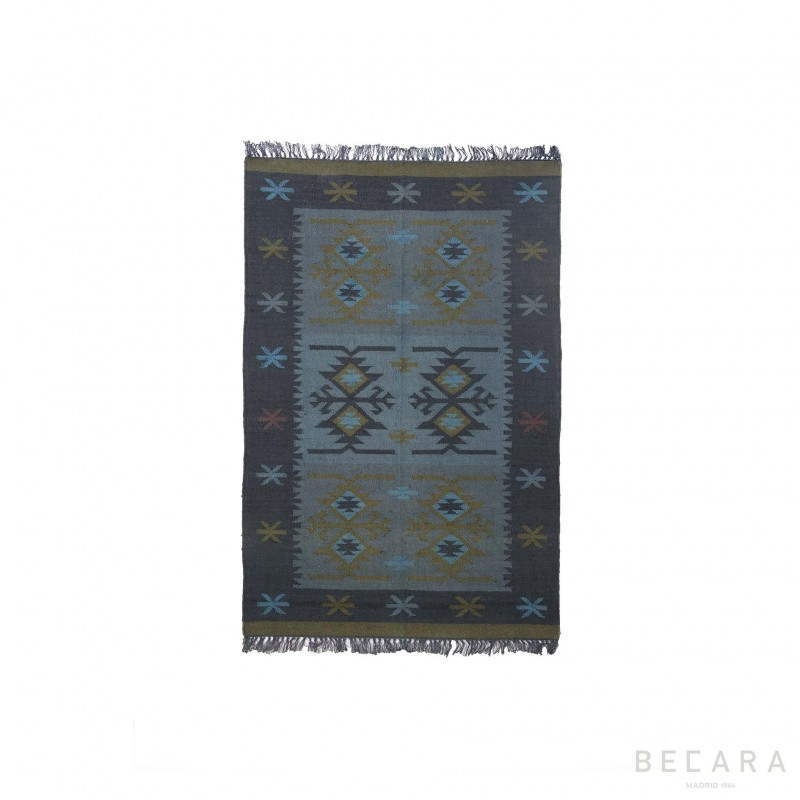 Alfombra yute estampada azul 120x180cm - BECARA