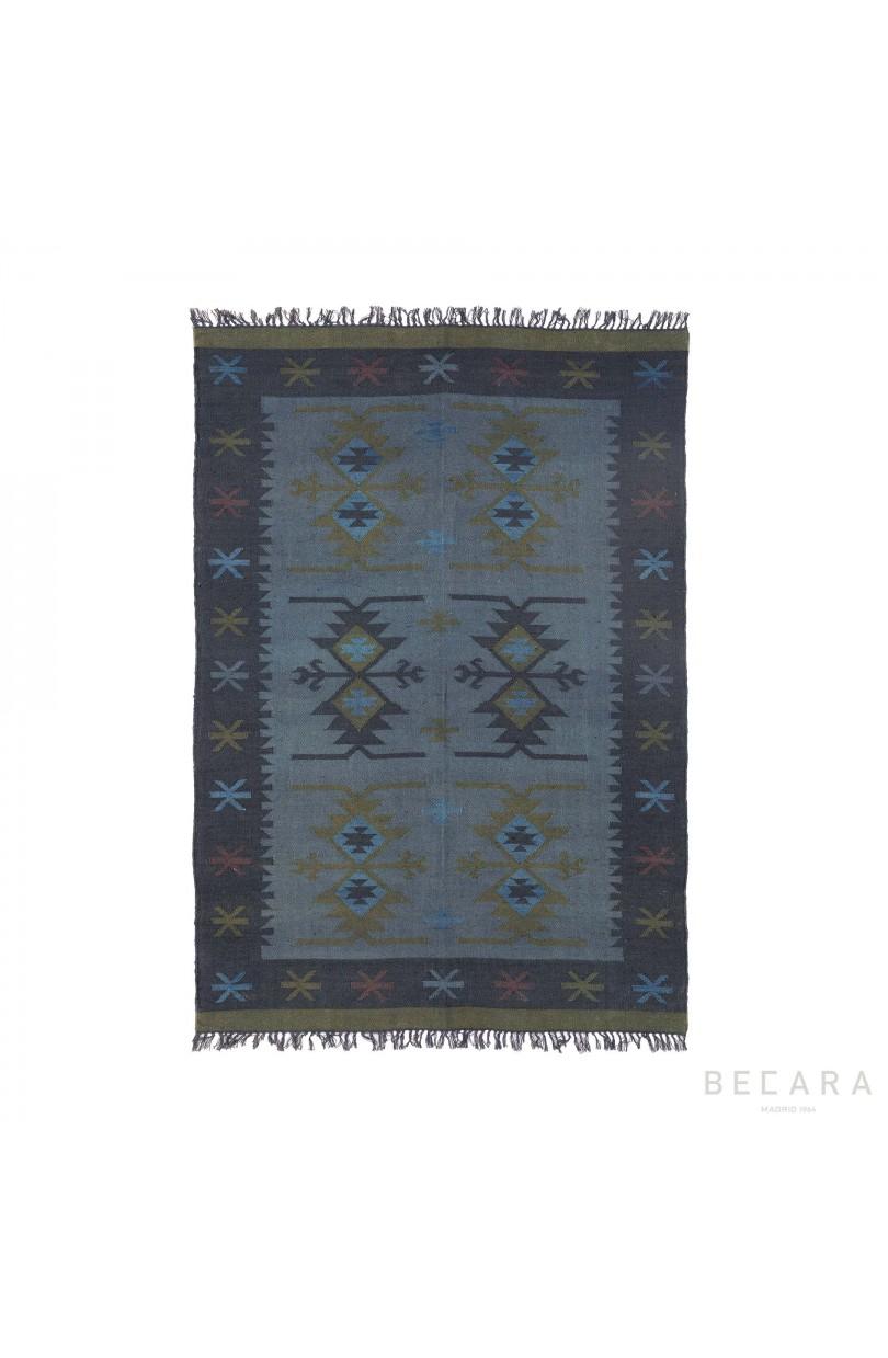 Alfombra yute estampada azul 170x240cm textil en becara - Alfombras yute a medida ...