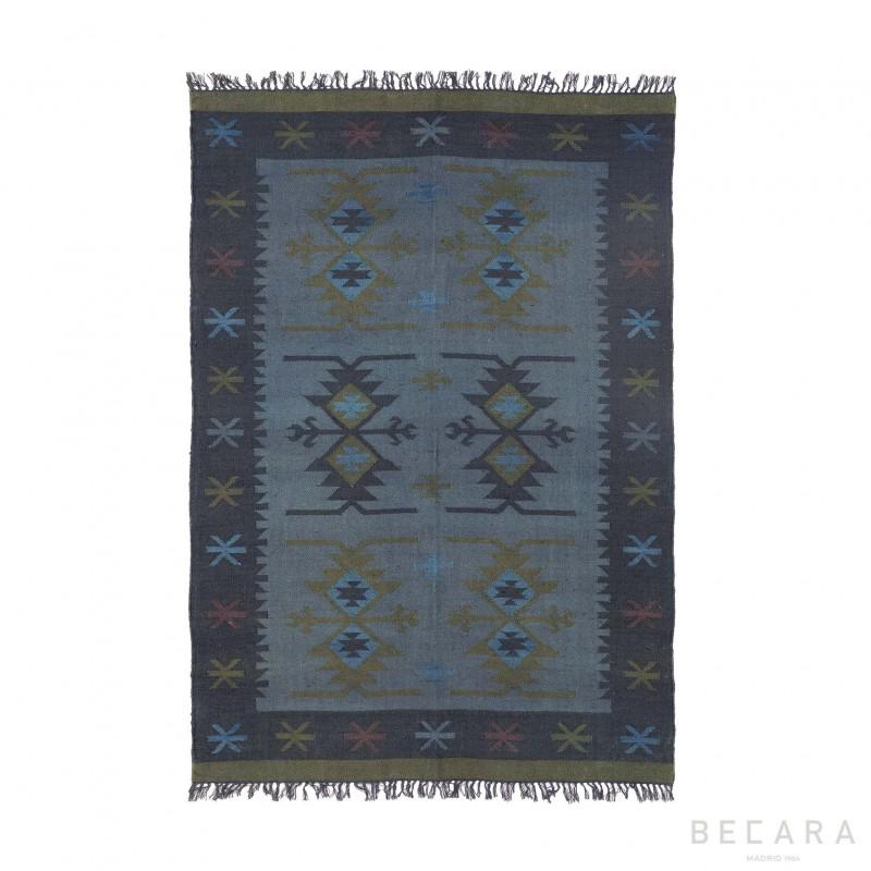 170x240cm blue printed jute rug