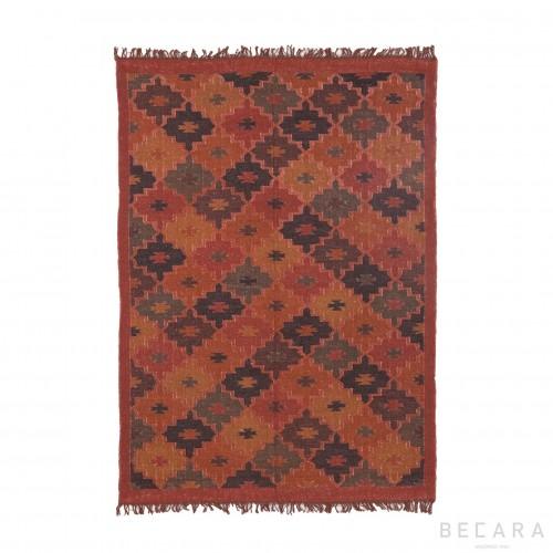 170x240cm red printed jute rug