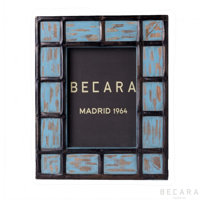 Turquoise metallic squares frame - Becara Tienda online