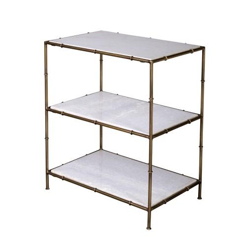 metalic bambu and marble shelves