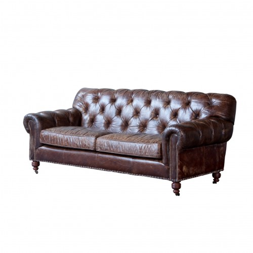 Brown leather Clarence sofa