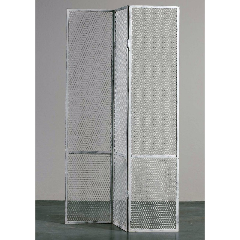 White metal grid screen room divider