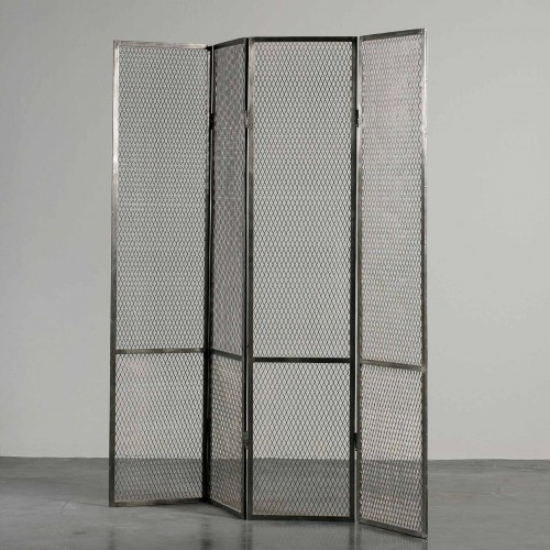 Dark grey metal grid screen room divider
