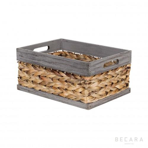 Cesto con borde gris 32x23x15cm - BECARA