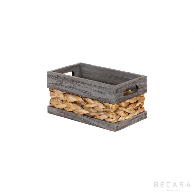 Cesto con borde gris 22x13x11cm - BECARA