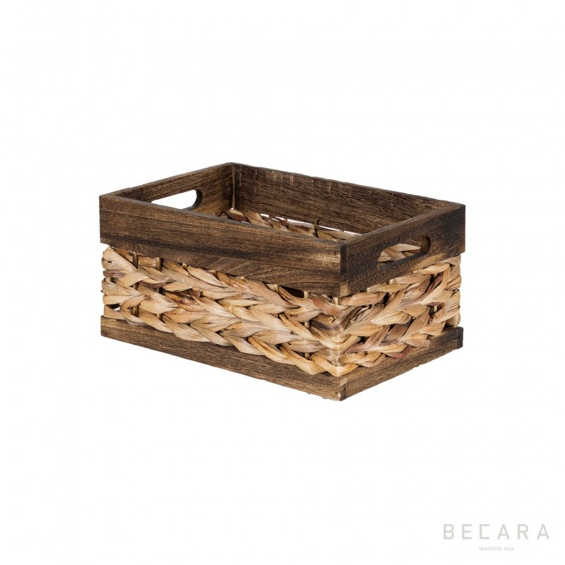 Cesto con borde marrón 27x18x13cm - BECARA