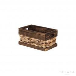Cesto con borde marrón 22x13x11cm