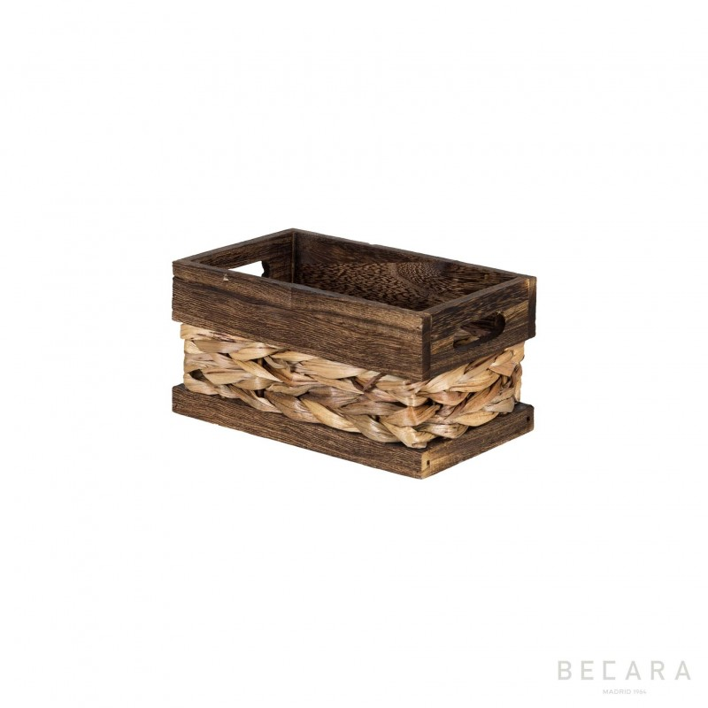 Cesto con borde marrón 22x13x11cm - BECARA