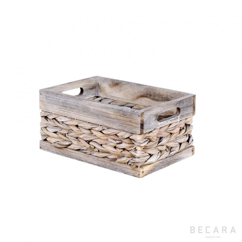 Cesto con borde beige 27x18x13cm - BECARA