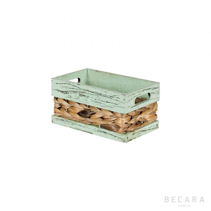 Cesto con borde verde 22x13x11cm - BECARA