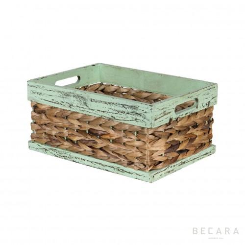 Cesto de borde verde 32x23x15cm - BECARA