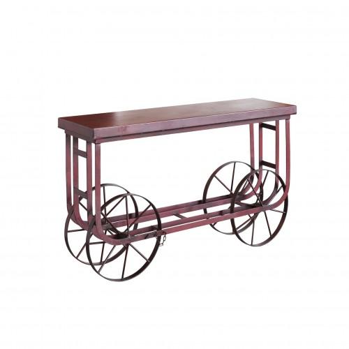 Carrito de ruedas hierro rojo