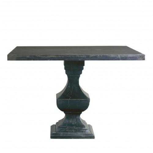 Mesa de comedor de metal con tablero de madera
