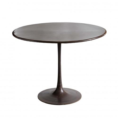 Mesa de comedor redonda de hierro oxidado