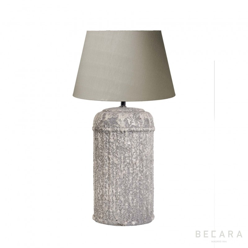 Fluted grey block table lamp