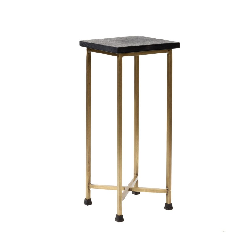 Side table with stone on the top and brass legs