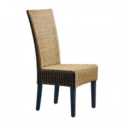 Wicker chair with back upright