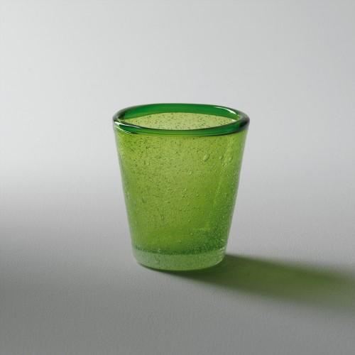 Vaso verde para vela pequeña