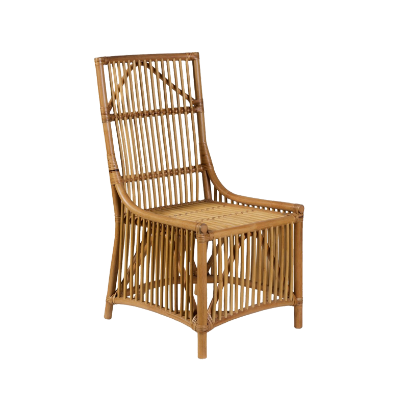 Rattan armchair with tall back