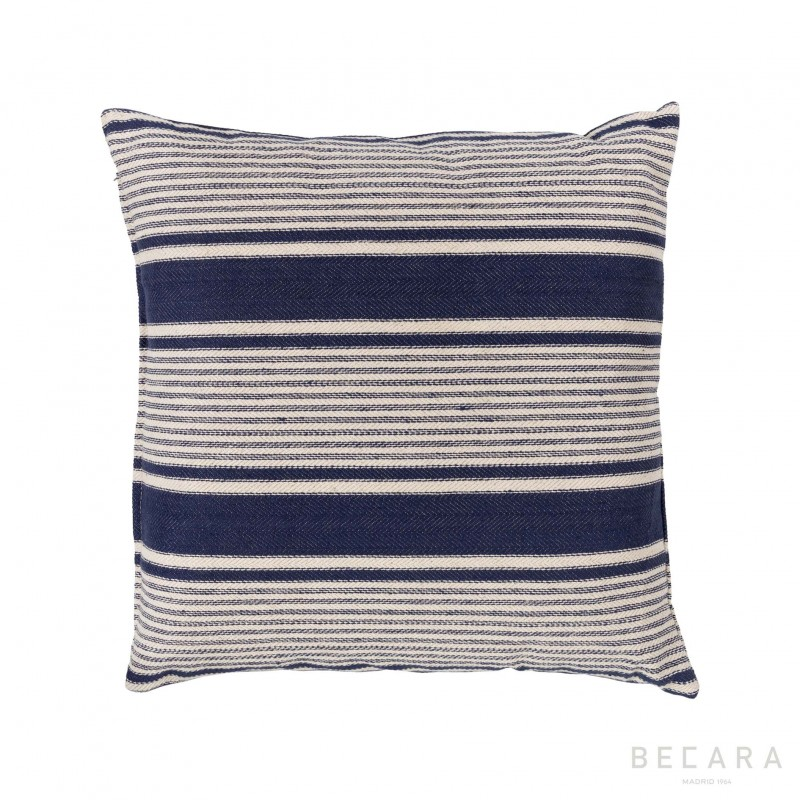 Cojín a rayas azul marino 50x50cm - BECARA