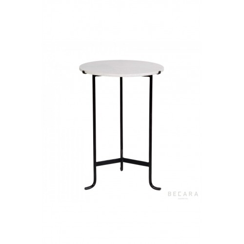 Round side table with white marble on top