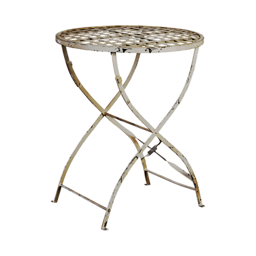 White fretwork iron side table