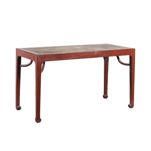 Red dinning table with stone on top