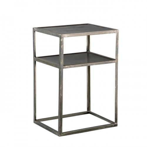 Nickel side table with black tops